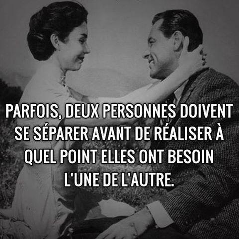 Parfois, deux personnes doivent se séparer avant de réaliser à quel point elles ont besoin l'une de l'autre  http://top-proverbes.com/citations/amour/parfois-deux-personnes-doivent-se-separer/ citation, proverbe, Amour #Citation, #Proverbe, #Amour