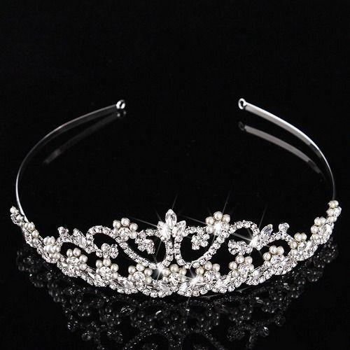 Vintage Bridal Tiara Rhinestone Pearl Bridal Headband For Wedding Art Deco