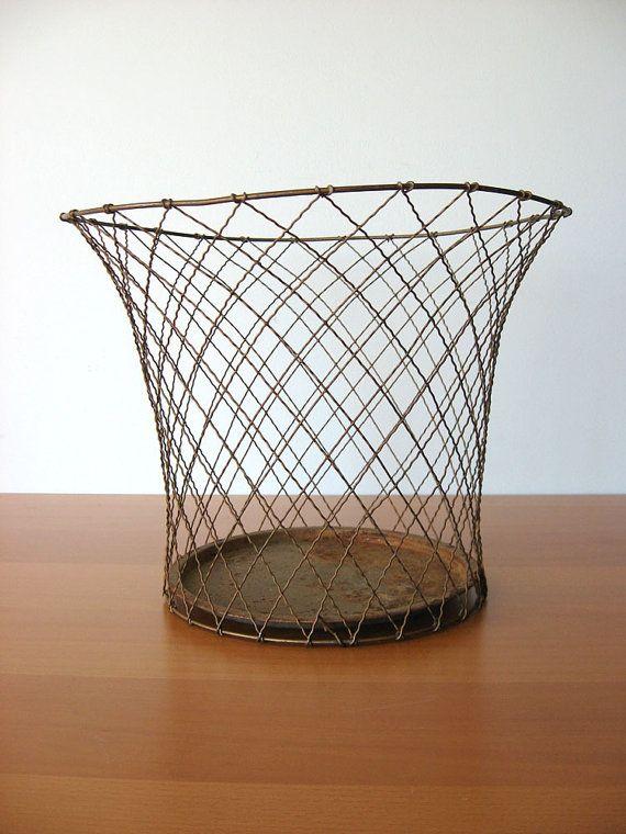 Vintage Waste Basket  Industrial Storage by vintageseventyfive, $69.00