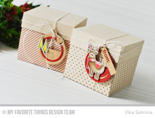Handmade tags from Vika Salmina featuring Merry Everything stamp set and Die-namics, Diagonal Stripes Background and Tiny Stars Background stamps, and Tag Builder Blueprints 6 Die-namics #mftstamps