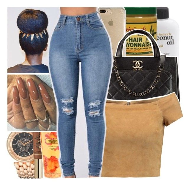"""Senile x Young Money"" by chynelledreamz ❤ liked on Polyvore featuring Versace, Speck, Chanel, Victoria's Secret and Alice + Olivia"
