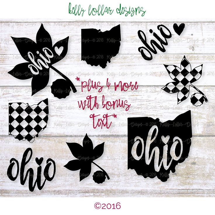 8 Ohio Football SVG | Columbus, OH | Love Ohio | Buckeye svg | Ohio SVG | Cutting Files for Silhouette, Cricut and other Die Cut Machines by KellyLollarDesigns on Etsy