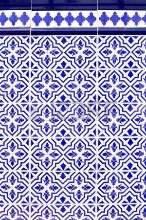 Estilo andaluz espa ola azul patr n de azulejos de cer mica Foto de archivo