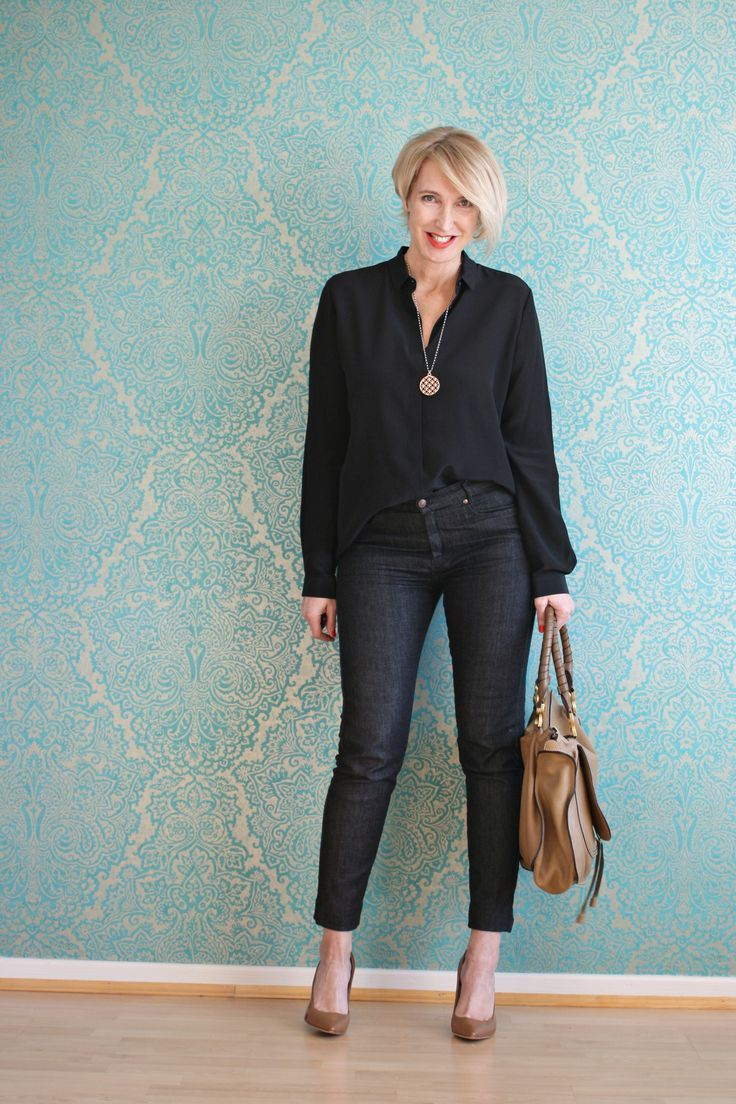A fashion Blog for women over 40 and mature women http://www.glamupyourlifestyle.com/  Blouse: Other Stories Jeans: Selfnation Shoes: Boss Bag: Chloé