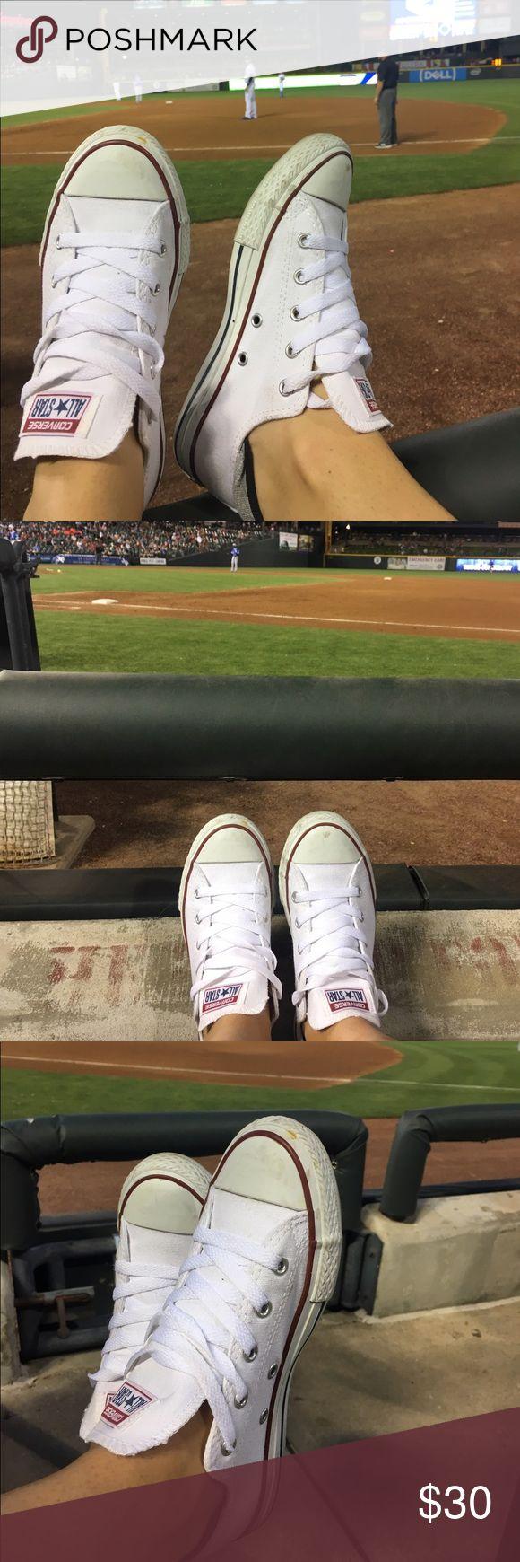 White Converse SIZE 3 LIKE SIZE 6! Great condition. Worn a few times - too small for me. I'm a size 7 and bought these in kids size 3! Would fit a size 6.5 or anywhere below in women's comfortably!  THESE ARE NOT ADULT - KID SIZE 3! Will cleanup before sale, just a little bit of baseball dirt 😆 Converse Shoes Sneakers