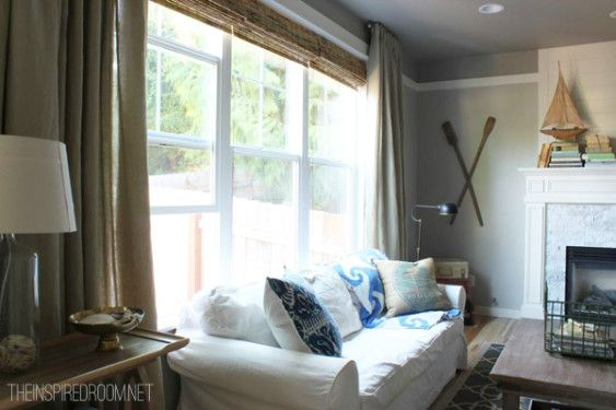 Short curtain rods! long family room curtains
