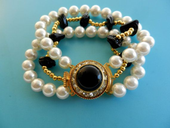 Extravagant beauty of three strands white pearls by RAKcreations