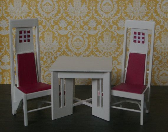 items similar to dolls house charles rennie mackintosh salon de luxe table and chairs on etsy - Salon De Luxe