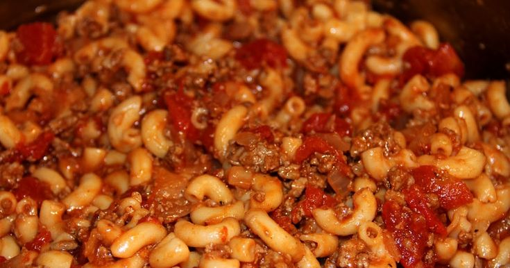 Basic Ground Beef American Goulash - a quick and easy ground beef, macaroni and tomato skillet meal. Stir in 1/2 cup of cubed Velveeta for...