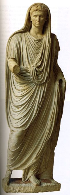 The emperor Augustus as Pontifex Maximus  Marble  c. 40 CE  In the collection of the Museo Nazionale Romano, Rome.