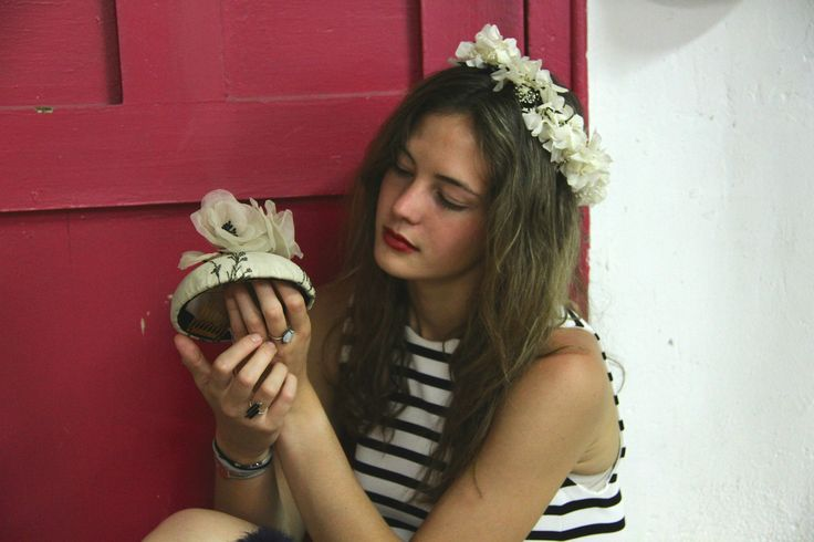 Crown of wax and lyophilized flower. Embroidered silk headpiece with organza flowers Photo: Carmen Aumedes Model:Carlota Gonzalez-Adrio