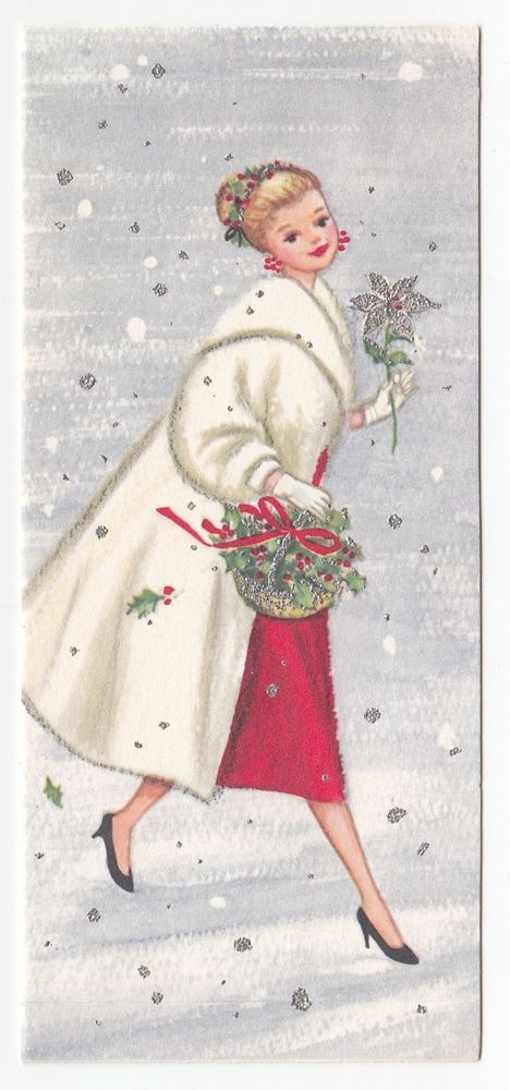 Vintage Greeting Card Christmas Fashionable Lady Fur Coat Gibson Mid-Century