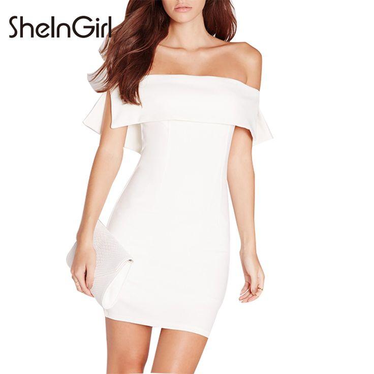 SheInGirl 2016 Office Lady Fashion Women Solid White Short Sleeve Off Shoulder Mini Dress Slash Neck Bodycon Party Mini Dress on Aliexpress.com | Alibaba Group