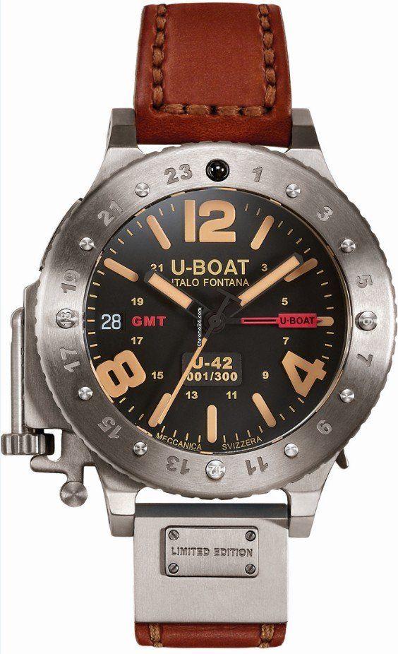 U-Boat U-42 GMT Limited Edition chronograph titanium case with leather bracelet, automatic movement