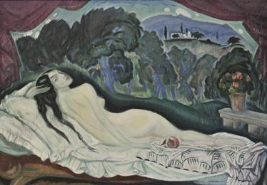 Φιλική Εκτύπωση Παρθένης Κωνσταντίνος (1878/1879 - 1967) Μεγάλο γυμνό, π. 1911-1918 Λάδι σε μουσαμά , 127 x 183 εκ. Κληροδοσία αντί Φόρου Κληρονομίας Νικολάου Παρθένη , Αρ. έργου: Π.9984