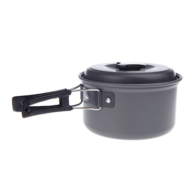 Portable Outdoor Stainless Steel Pot Pan With Aluminum Foldable Handles Cooking Pot Non Stick Cookware