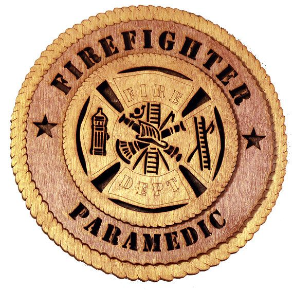"Rustic Wood Plaque Firefighter Paramedic by The Laser Place on Etsy. These plaques are approximately 8"" round with three layers giving a 3D appearance. Easily customized for your needs. https://www.etsy.com/shop/TheLaserPlace"