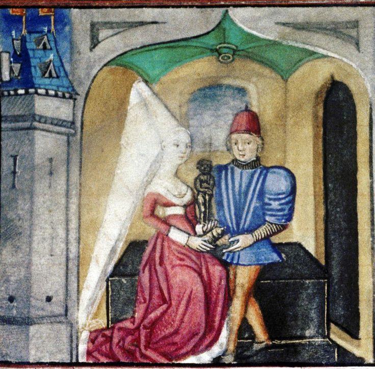 Медуза вручает Ясону златую статую. Миниатюра XV в.