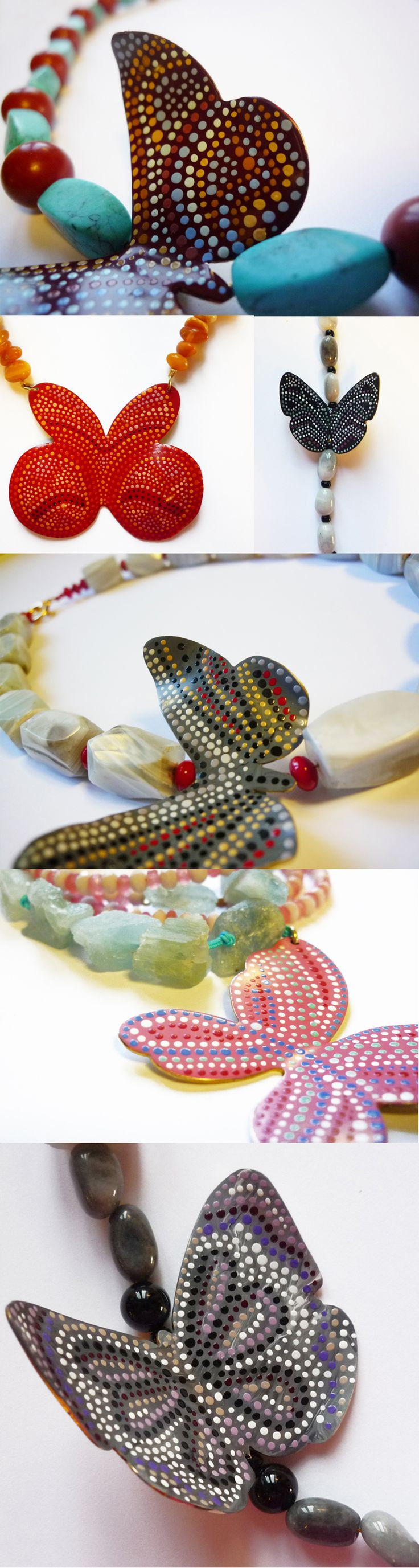 A selection of detailed photographs of handmade and handpainted statement necklaces with semi precious beads to wear all day long. Explore a selection of necklaces and not only on our site http://www.facebook.com/LillysPapillon