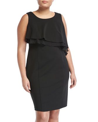 Layered-Chiffon+Popover+Sheath+Dress,+Black,+Plus+Size+by+Taylor+Plus+at+Neiman+Marcus+Last+Call.