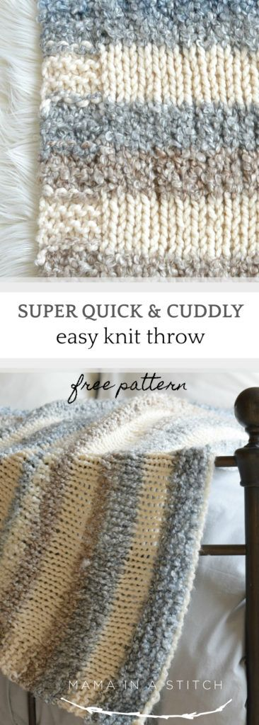 This super easy blanket knitting pattern works up really quickly! It can be made fast as it's done on large knitting needles. Easy enough for beginner knitters too!