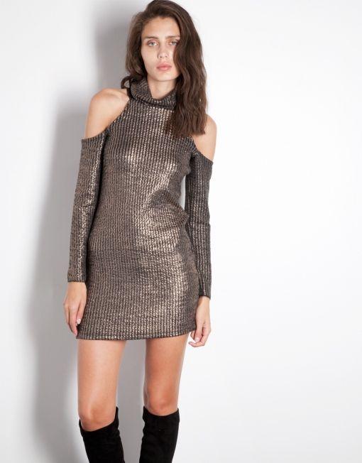 Φόρεμα μεταλλικό off shoulder image 1