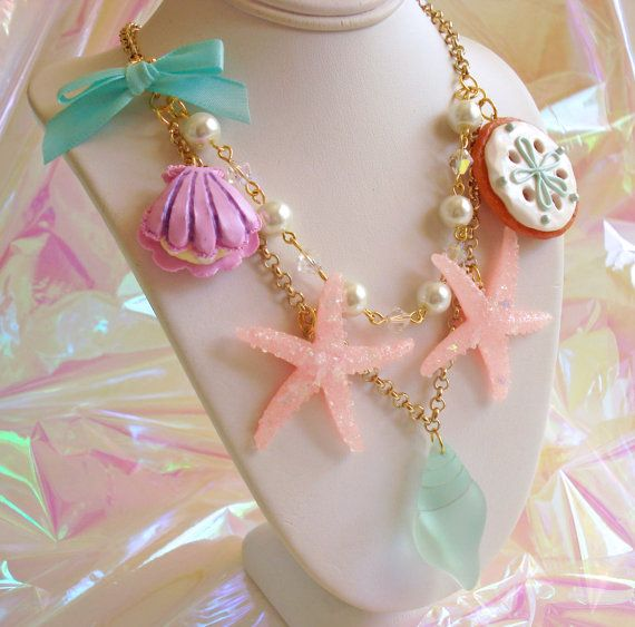 Pastel Mermaid Necklace Mermaid Jewelry by FatallyFeminine on Etsy