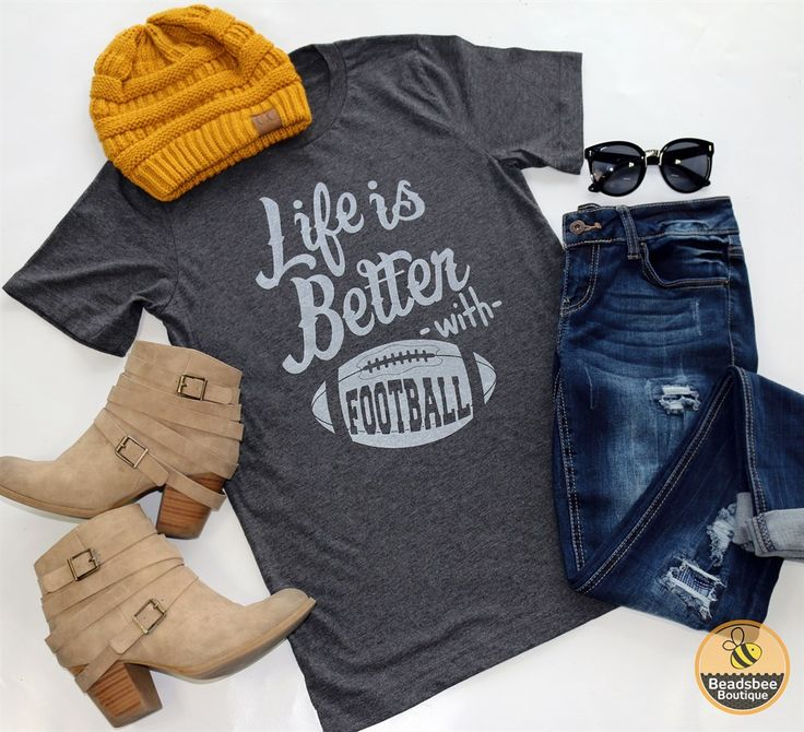 These trendy graphic tees are here just in time for Football season! So cute…