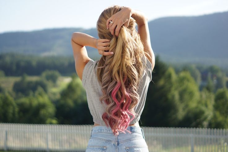 Blonde girl. Curls. Pink. Strippes. Beautiful Nature