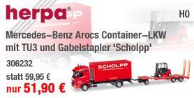 Herpa 306232 Mercedes-Benz Arocs Container-LKW mit TU3 und Gabelstapler 'Scholpp'