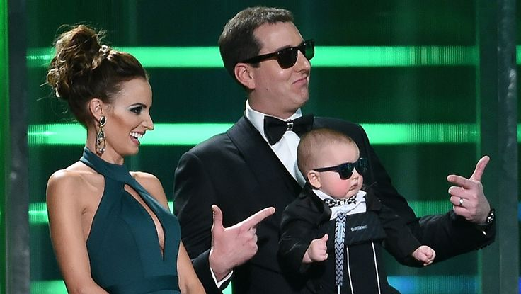 Video: Kyle Busch walks out on stage with son Brexton wearing sunglasses like in the film 'The Hangover' at the Sprint Cup Awards.