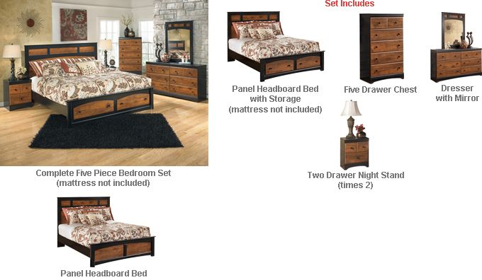 Ashley Aimwell Queen Panel Headboard Bedroom Set (with under bed Storage) - With the rustic beauty of the warm brown finish enhancing the replicated cherry grain along with the deep black finish that features golden rub through accenting, the two-toned look of the Aimwell bedroom collection captures a vintage casual atmosphere to enhance any bedroom's decor.