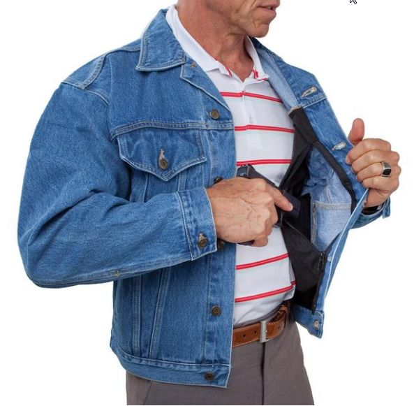 Now you can have it all, the style, the stealth and the concealment. The jean jacket is a classic...every man should own one. We've improved it for your pleasure. It features two large concealment pockets that are added to a name brand jean jacket. The pockets are hidden so no one will ever know. They're large enough to hold a full-size wallet, important papers, cash and other valuables, even a small to medium size handgun.
