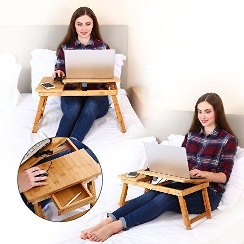 Laptop Tablet Desk Table Wooden Bamboo Folding Breakfast Bed Serving w/ Drawer #NNEW