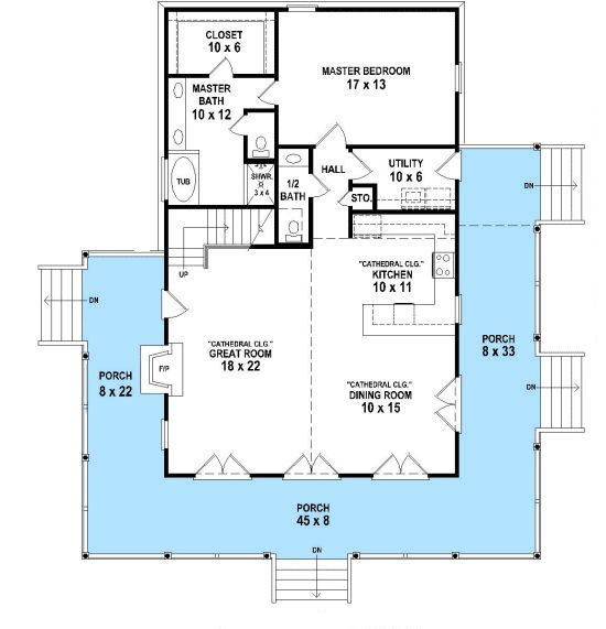 House Plans With Upstairs Loft Part - 19: Plan 58559SV: Wraparound Retreat With Options