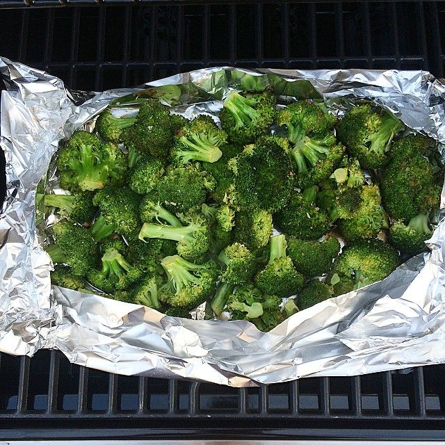 """""""Grilled Broccoli: Toss in olive oil, juice of one lemon, sea salt and TJ's 21 season salute (or Lemon Pepper.) Place foil on grill and spread broccoli over. Grill for 8-10 min. Crisped to perfection """" Photo taken by @jennaskitchen on Instagram, pinned via the InstaPin iOS App! http://www.instapinapp.com (05/26/2015)"""