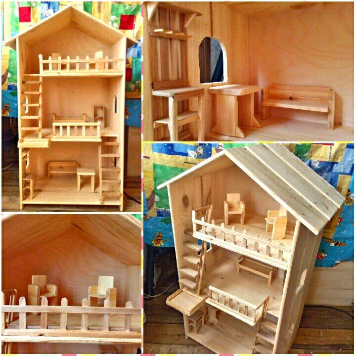 Pin doll house with furniture. Without nails. Size 82*29*42. https://vk.com/decordom_tsk
