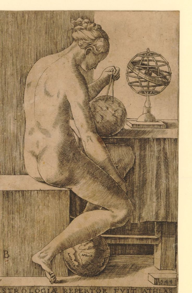 Plate 7: Astrology, a female nude holding a pair of dividers and globe. 1544 Print made by Monogrammist B  Date 1544