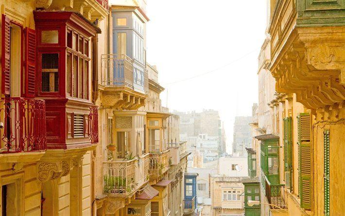 la vieille ville, le balcon, la valette, malte