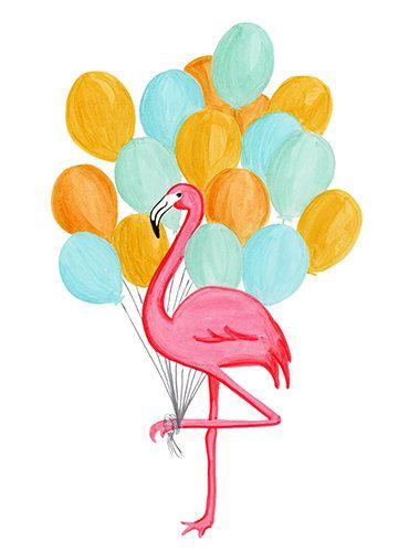 Carte de fête Flamant rose et Ballons par AmelieCardsandPrints