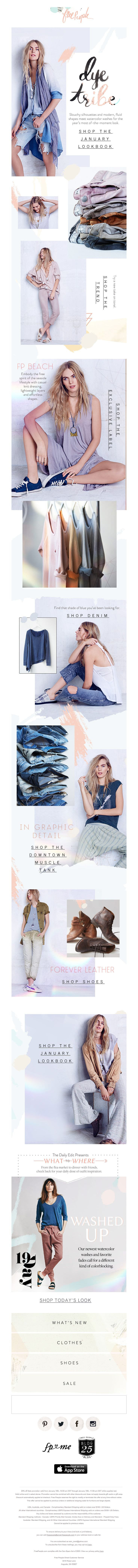 Free People // cool mix of lifestyle + product // use to show color range + fit/styling