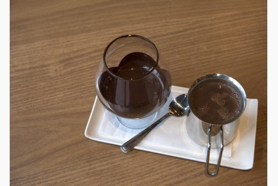 Chocolate rimmed brandy snifters serve up the hot chocolate at Cacao 70 in the Distillery District.