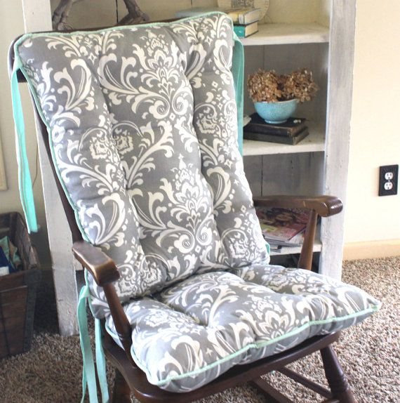 Custom Ozborne Damask Rocking Chair Cushions By