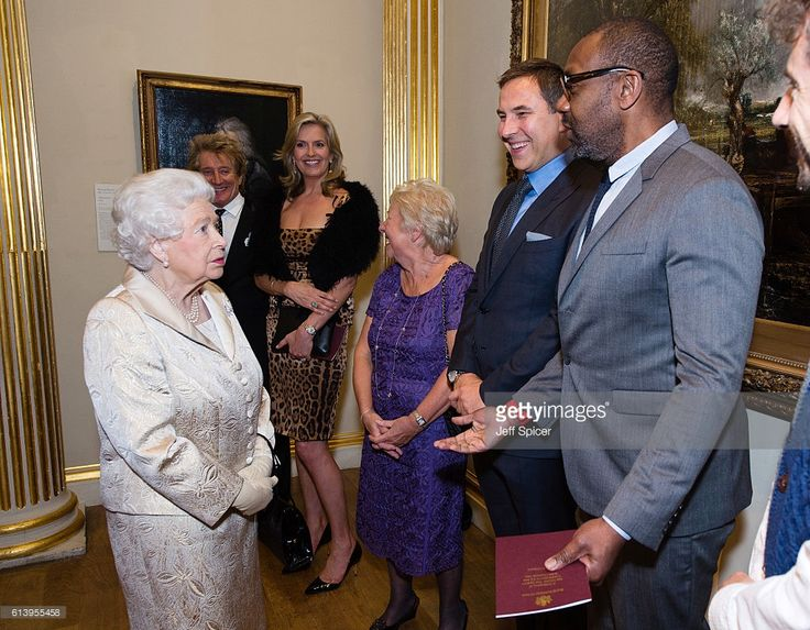 Queen Elizabeth II, Sir Rod Stewart, Penny Lancaster, Kathleen Williams, David Walliams and Lenny Henry attend a reception and awards ceremony at Royal Academy of Arts on October 11, 2016 in London, England.