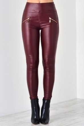 Kelly Leather Look Trousers in Burgundy