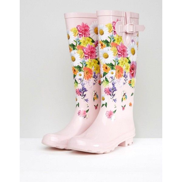 ASOS GREENHOUSE Floral Wellies ($35) ❤ liked on Polyvore featuring shoes, boots, party boots, asos, shiny boots, floral booties and slip on rubber boots