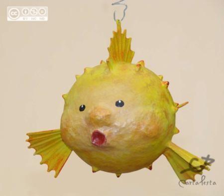 pez globo pez-movil papel,pegamento,acrílicos cartapesta,