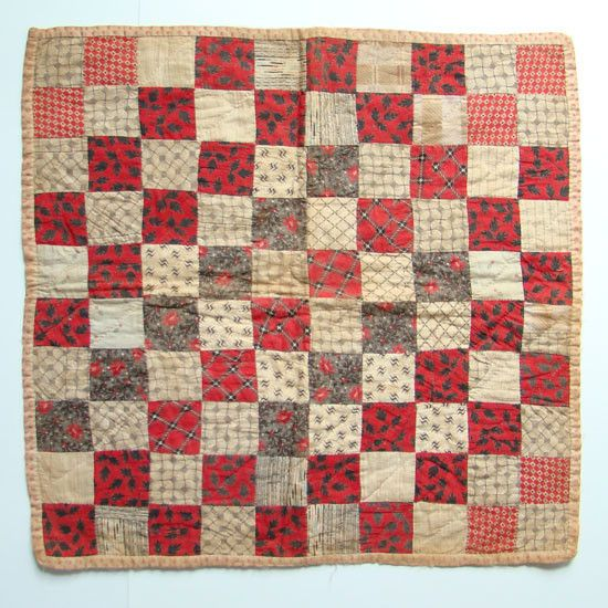 Antique c1880 Doll Quilt One Patch Design Red Black Calico Handstitched    19  x  19   ~♥~