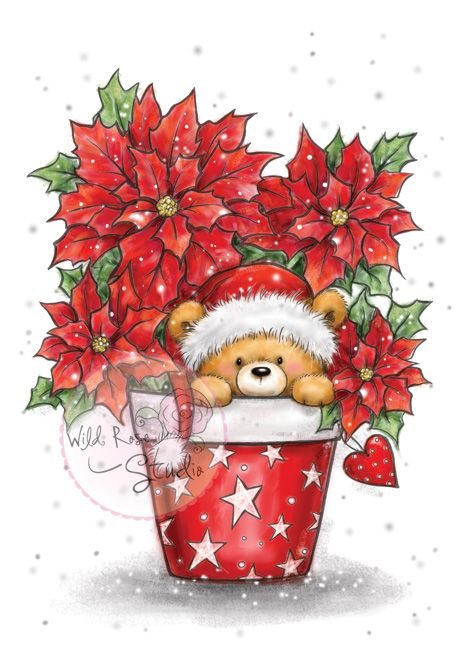 ❤️CHRISTmas Teddy in Pot ~ Wild Rose Studio