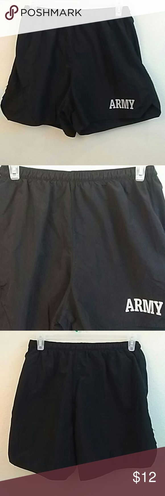 Army physical fitness uniform Non brand ..Nylon material army graphic in from and side leg flare stretchy waist band box3 army Shorts